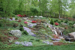 hill,hillside,slope,waterfalls,pond,steps,stairway,stone,landscape,landscape architect,fence