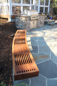 flagstone patio and ipe bench