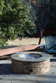 firepit on flagstone patio